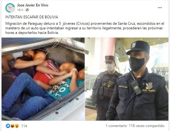 Con fotos de otro país se acusa a cívicos cruceños de intentar ingresar a Paraguay ilegalmente
