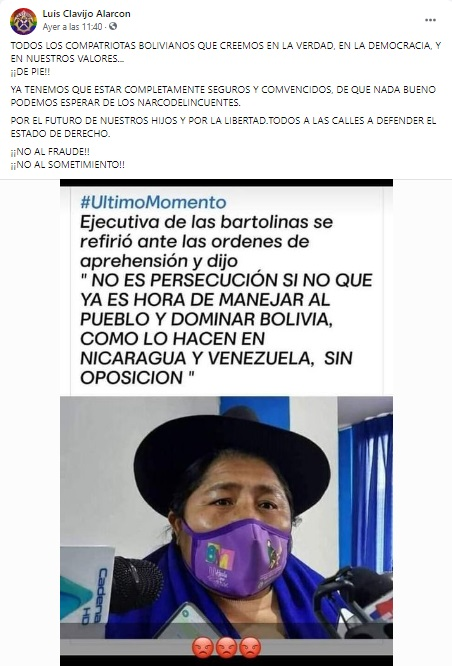 Ejecutiva de las Bartolinas no dijo que «es hora de dominar Bolivia sin oposición»