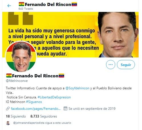 Una cuenta de Twitter con el nombre «Fernando del Rincón» es viral en Bolivia, pero no es la verificada