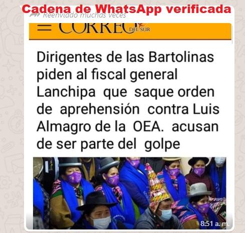 Bartolinas no pidieron orden de aprehensión contra Luis Almagro