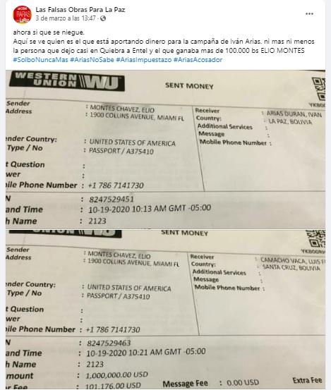 Los recibos que indican que Elio Montes envió dinero a Camacho y Arias son falsos