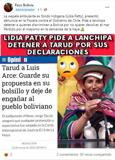 Lidia Patty no pidió detener a exdiputado chileno