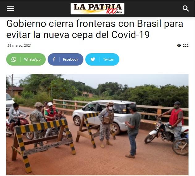 Bolivia no cerró fronteras con Brasil como afirma un titular de La Patria
