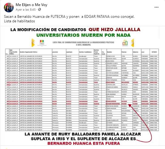 Édgar Patana no figura como candidato a concejal de Jallalla en El Alto