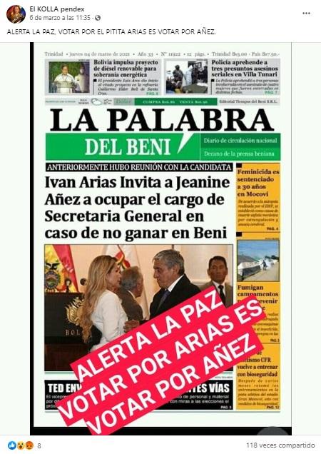 Periódico beniano no publicó que Iván Arias invitó a Jeanine Áñez a trabajar en la Alcaldía