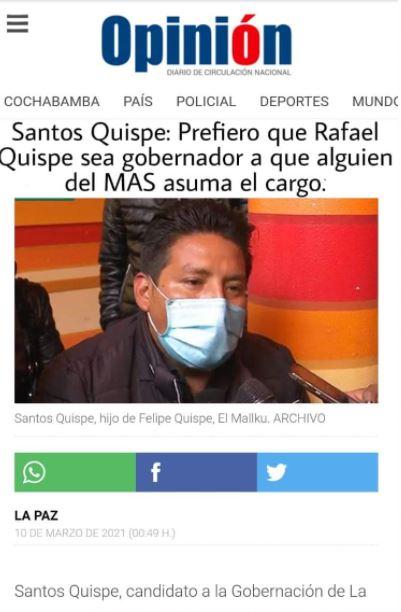 Manipulan titular de Opinión para atribuir una declaración falsa a Santos Quispe