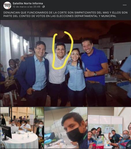 El joven que aparece con candidatos del MAS no es funcionario del Tribunal Electoral