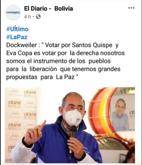 Atribuyen a César Dockweiler una declaración falsa sobre Eva Copa y Santos Quispe