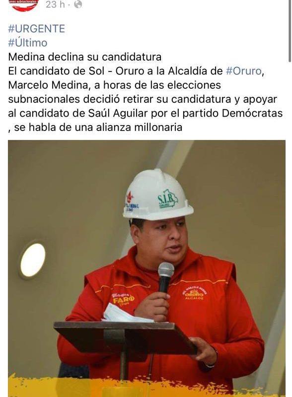 Marcelo Medina, candidato a la Alcaldía orureña, no declinó su candidatura