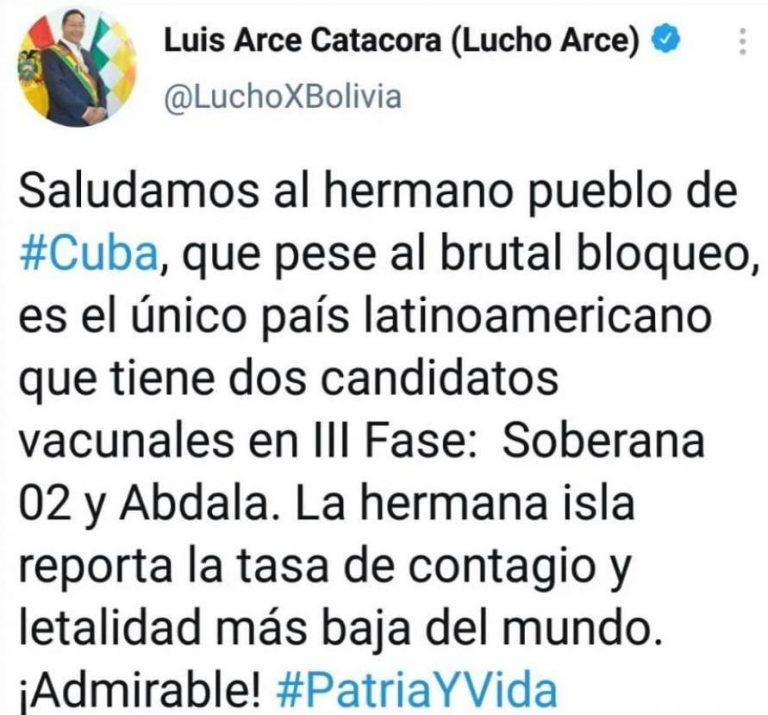 Cuba no es el país con la tasa de contagio y letalidad más baja del mundo, como afirma Luis Arce