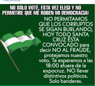 La Unión Juvenil Cruceñista no convocó a defender el voto afuera de la feria Expocruz