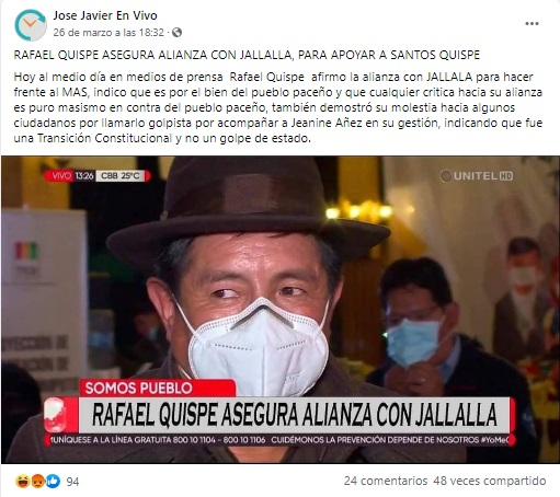 Jallalla La Paz no hizo alianza con Somos Pueblo