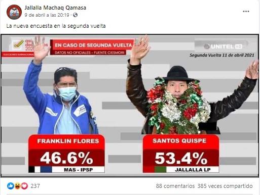 Unitel no difundió ninguna encuesta para la segunda vuelta electoral en La Paz