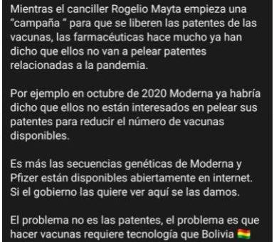 Patentes: Es falso que las farmacéuticas están deponiendo el derecho intelectual de las vacunas contra la Covid-19