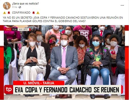 Alteran fotografía de Eva Copa y Luis Fernando Camacho en Tarija
