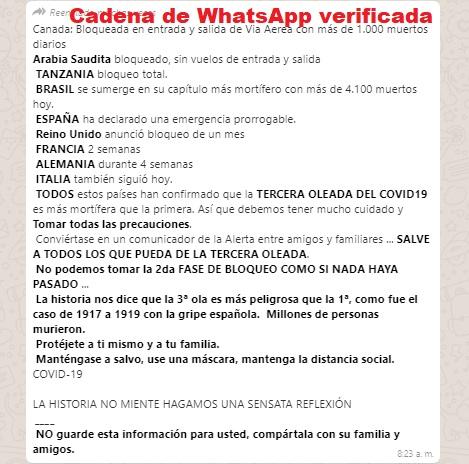 Medias verdades sobre la tercera ola del coronavirus en una cadena de WhatsApp