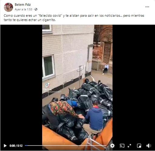 Esta imagen no pretendía hacer creer que son personas fallecidas por Covid-19, se trata de la grabación de un videoclip