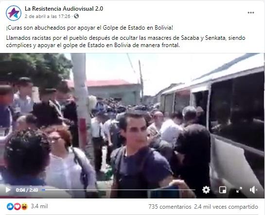 Video de sacerdotes abucheados corresponde a Nicaragua y no a Bolivia