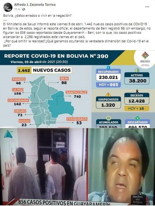 Los 856 casos de Covid-19 en Guayaramerín se refieren al acumulado y no al reporte del 9 de abril