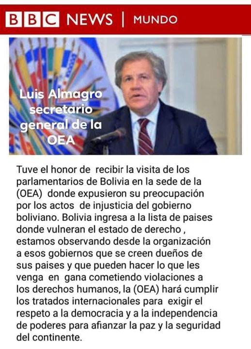 Almagro se pronunció sobre Bolivia, pero no dijo que se vulnera el Estado de derecho