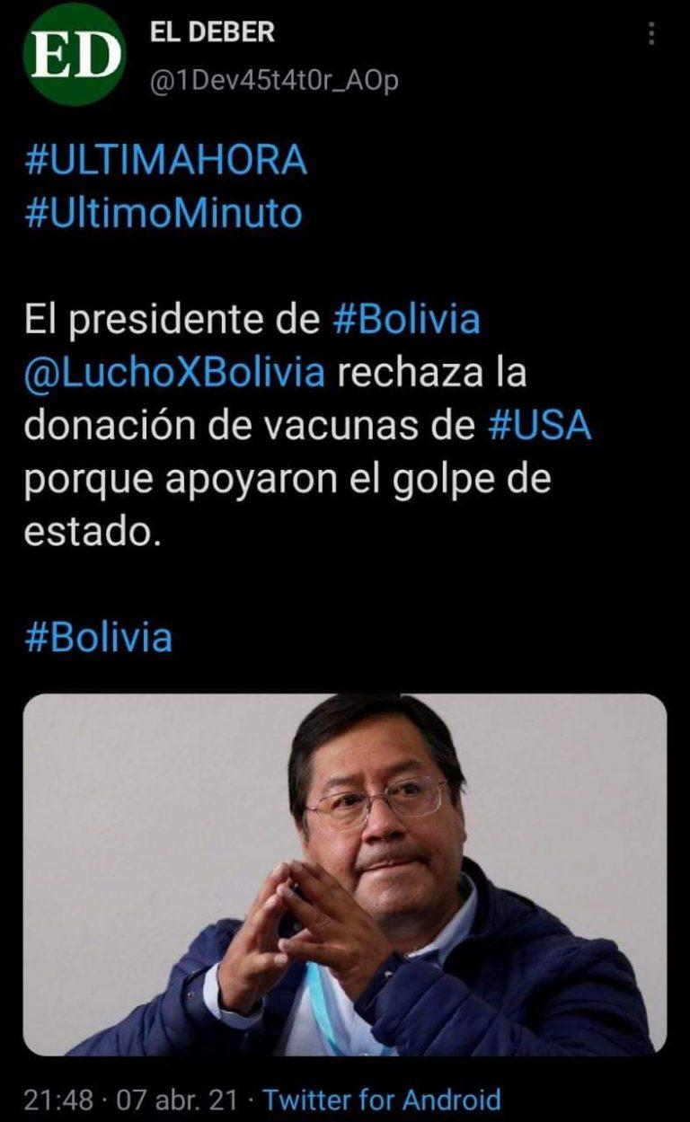 Tuit sobre Arce y las vacunas, no pertenece al periódico El Deber