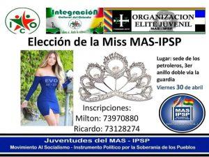 Aunque no hay aval oficial, partidarios del MAS en Santa Cruz elegirán a una miss