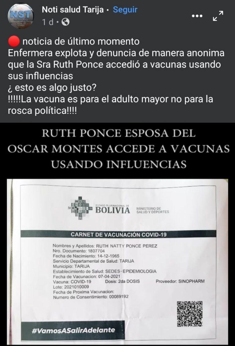Esposa de candidato Oscar Montes no recibió la vacuna contra la Covid-19