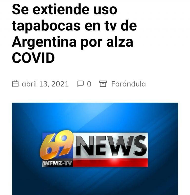 En Argentina instruyen a presentadores de televisión usar barbijo cuando estén al aire