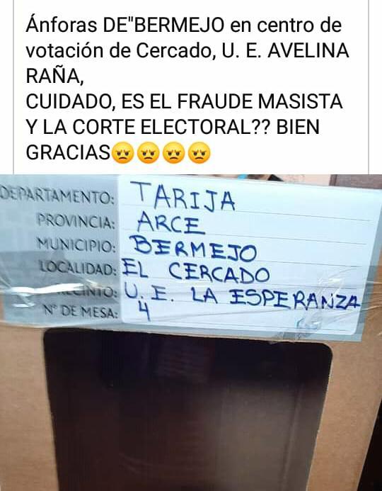 No, no hay ánforas de Bermejo instaladas en la provincia Cercado de Tarija