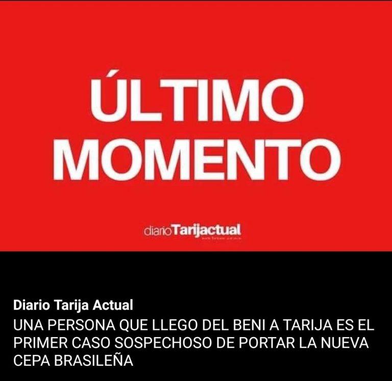 Covid-19: Sedes Tarija no confirmó presencia de cepa brasileña en este departamento pero hay un sospechoso