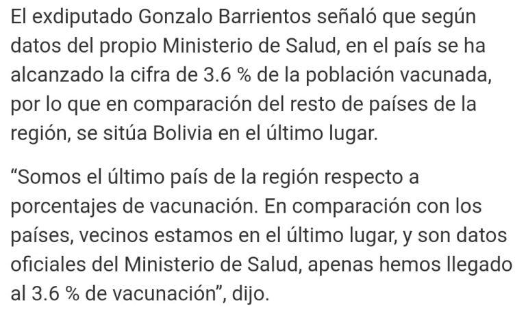 Bolivia no es el último país de la región en porcentaje de vacunación contra la Covid-19, como señala un exdiputado