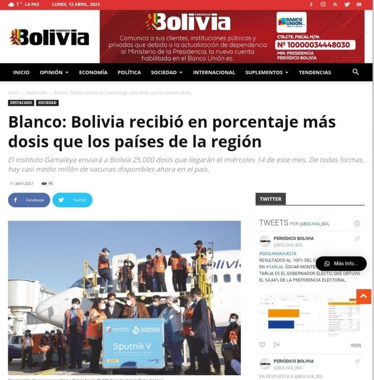 """Falso, Bolivia no recibió """"en porcentaje más dosis que los países de la región"""""""
