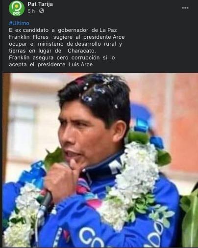 Franklin Flores no sugirió públicamente ocupar el cargo de ministro de Desarrollo Rural y Tierras