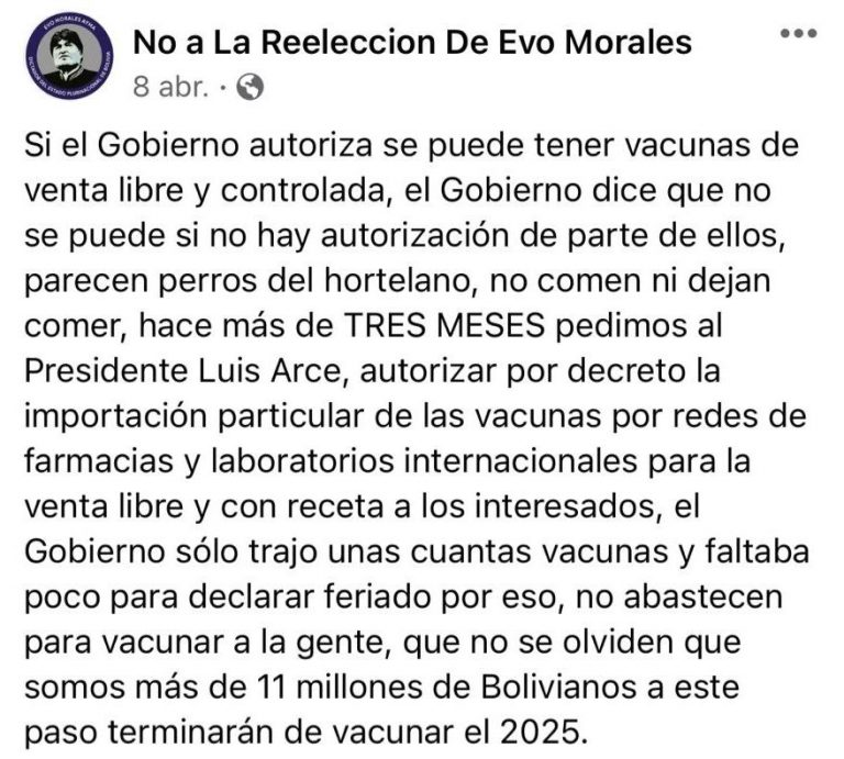 Se tiene previsto vacunar a siete millones de bolivianos, no a 11 como señala un post en Facebook