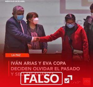 Red Uno no publicó que Iván Arias y Eva Copa hayan realizado una alianza