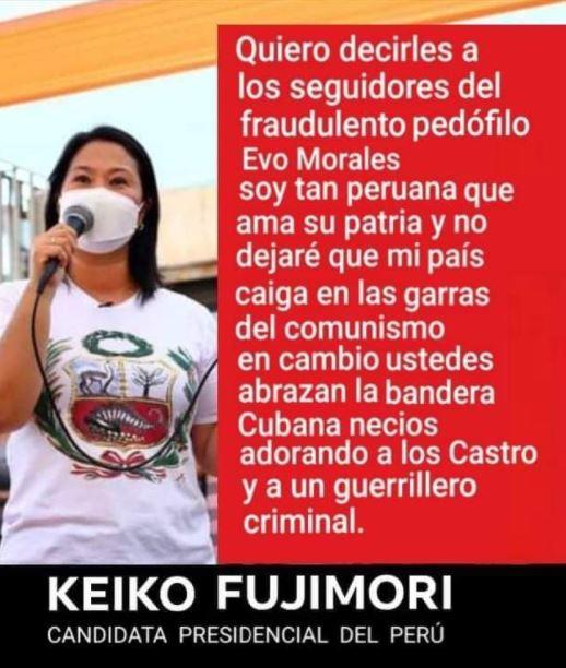 "Keiko Fujimori respondió a la falsedad sobre su país de origen pero no lo hizo refiriéndose a Evo Morales como ""fraudulento"""