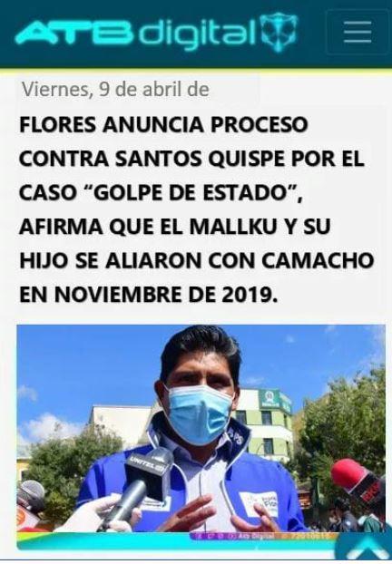 """No es cierto que Franklin Flores anunció un proceso contra Santos Quispe por el supuesto """"golpe de Estado"""""""