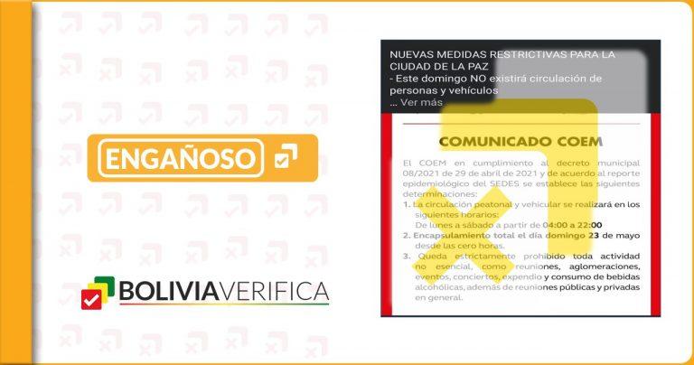 """La Paz no ingresa en """"encapsulamiento"""", la medida es para la ciudad de Tarija"""