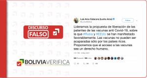 Bolivia no lidera la propuesta de liberación de patentes como afirma Luis Arce