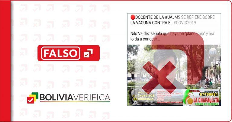 Las vacunas contra la Covid-19 no tienen metales pesados como indica públicamente un docente en Tarija