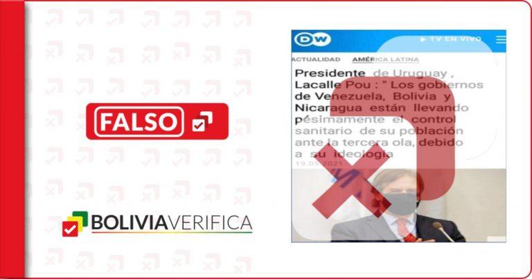 El presidente de Uruguay no se refirió al control sanitario de Covid-19 en Bolivia