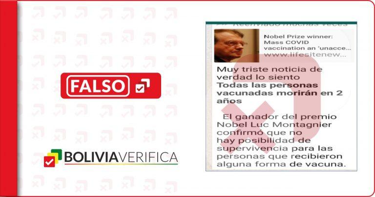 El Nobel de Medicina 2008 no dijo que los vacunados contra la Covid-19 morirán en dos años