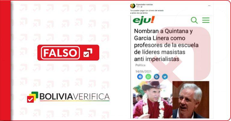 Eju! Tv no publicó que Quintana y García Linera fueron nombrados profesores de la Escuela Antiimperialista