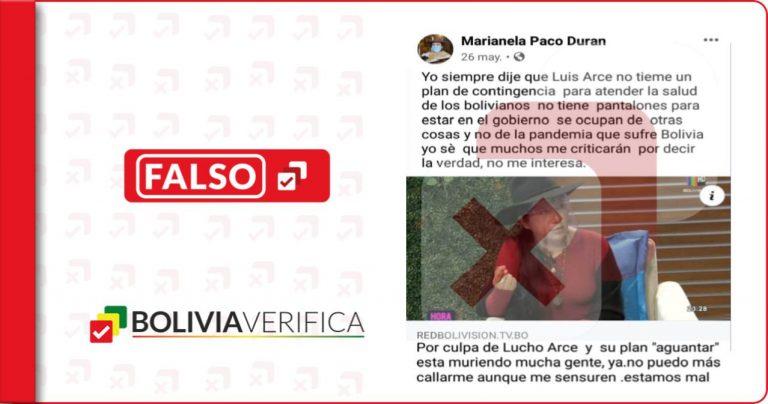 Es falso que Marianela Paco criticó el manejo de Arce sobre la pandemia