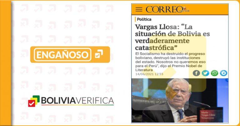 Mario Vargas Llosa no dijo que el socialismo destruyó el proceso boliviano