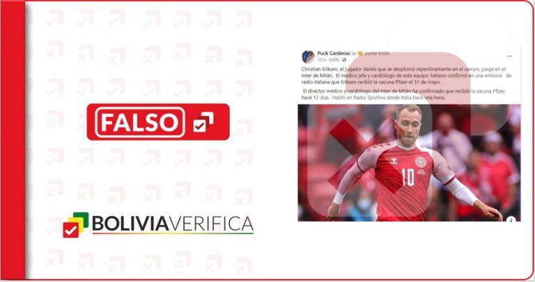 Es falso que el jugador de Dinamarca Christian Eriksen se vacunó contra la Covid-19