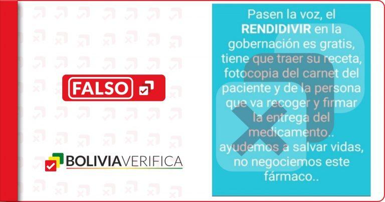 Ninguna gobernación en Bolivia está regalando remdesivir para tratar la Covid-19