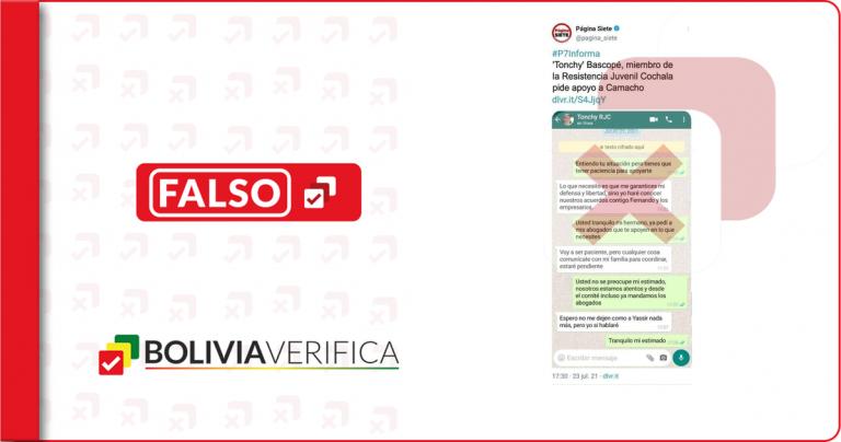 "No, Página Siete no publicó que ""Tonchy"" Bascopé pidió apoyo a Camacho"