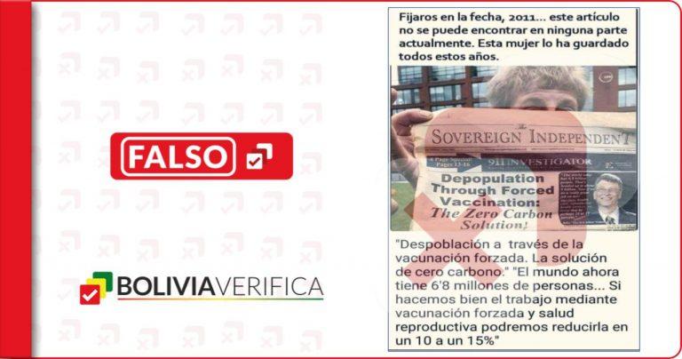 Portada de The Sovereign Independent Newspaper de 2011 no prueba que la pandemia fue planeada