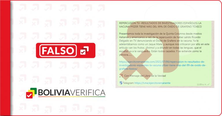 No, la Universidad de Almería no demostró que hay óxido de grafeno en la vacuna Pfizer